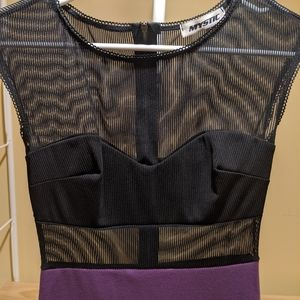 Purple and mesh body con dress